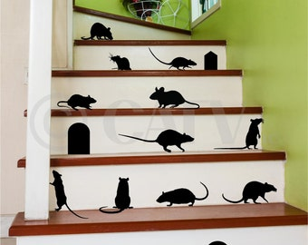 Rats Mice set of 17 with Mouse Door Hole Halloween Holiday Vinyl Wall Decals Sticker Home Decor