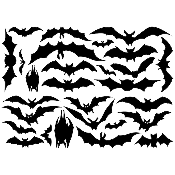 Set of 8 Extra Large Bats Scary Halloween Holiday Vinyl Wall Decals Stickers Prank Party Home Decor