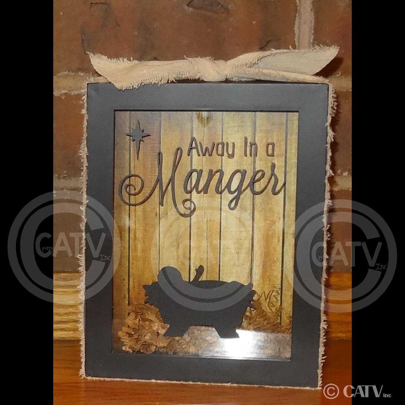 Set Of 2 Diy Christmas Nativity Away In A Manger With Wood Backdrop For 5x7 Shadow Box Craft Project Holiday Vinyl Frame Not Included