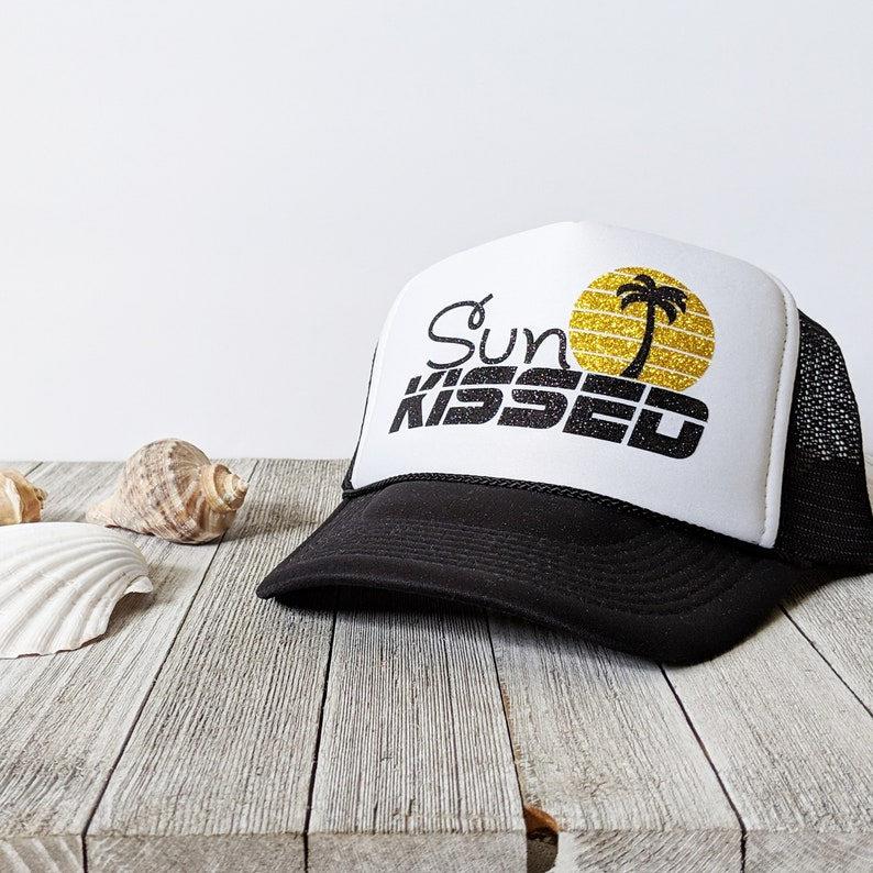 30dc2061041 Sun Kissed gold glitter beach foam trucker hat beach hat summer