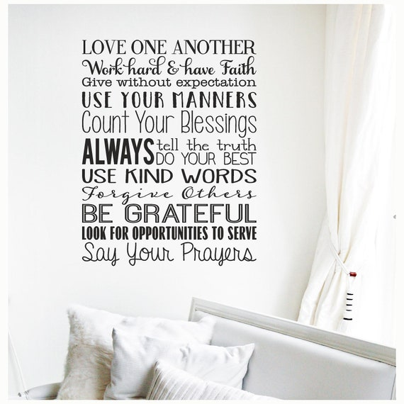 """FAMILY RULES BE THANKFUL Home Quote Wall Decal Sticker Words Vinyl Art 36/"""""""