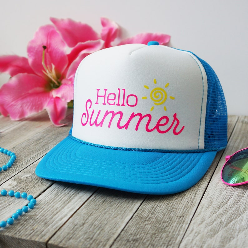 f615336c2b4 Hello Summer - 7 colors to choose from foam front mesh snapback trucker hat  beach sunshine beach hat neon