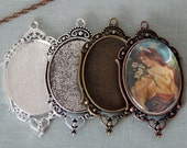 5 Vintage Style 30x40mm Oval Filigree Photo Pendant Trays with Matching Glass Cabochons - Cameo Settings - Blank Photo Pendant Trays