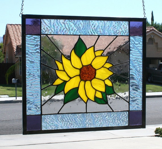 Large Stained Glass Window.Stained Glass Window Panel Summer Sunflower Large Stained Glass Panel Stain Glass Panel Sunflower Yellow Green Clear Blue Purple