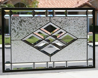 Large Clear Stained Glass Window~BEVELED DIAMONDS~ Beveled Stain Glass Panel, Clear, Bevels, Beveled, Clear Glass, Diamonds