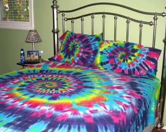Sweet Dreams Full Size Spiral Tie Dye 100% Organic Cotton Sheet Set Full  Size