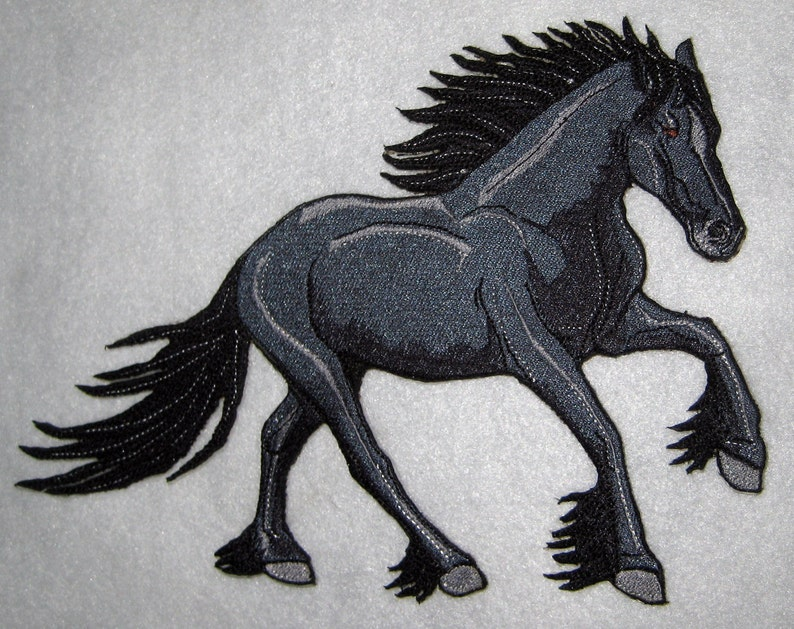Nightmare Black Friesian Draft Horse Iron on Patch ready to ship