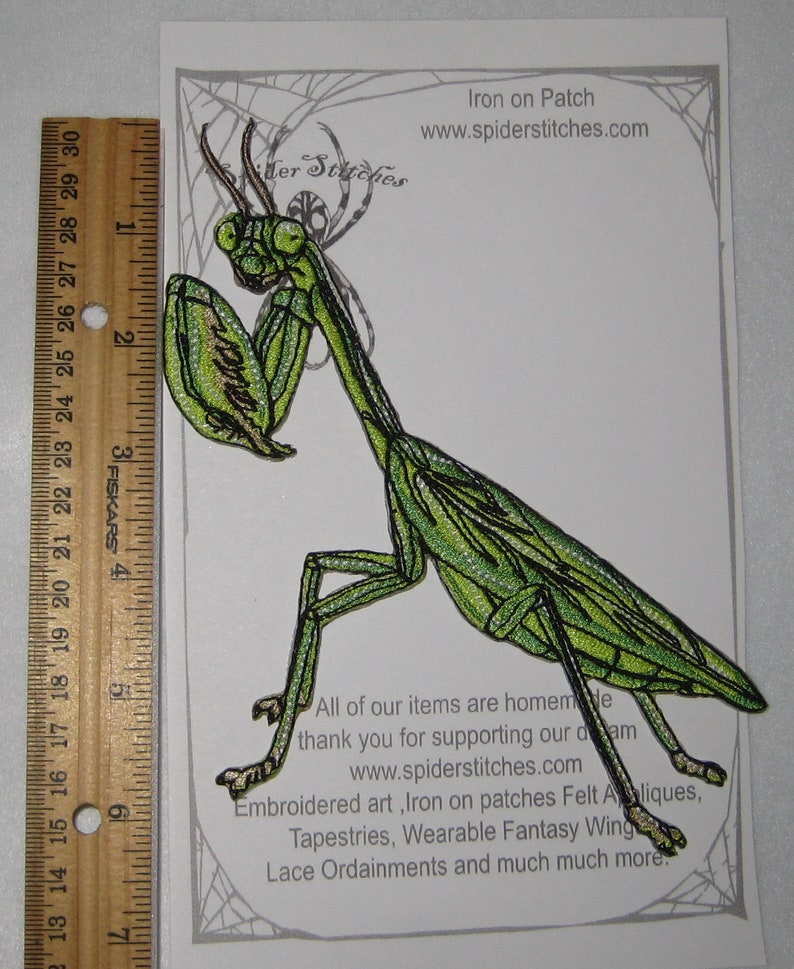 Chinese praying mantis Tenodera sinensis Iron on Patch Insect patch