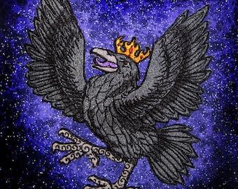 Heraldic Raven Crow Black Bird Iron on Patch 100% embroidery