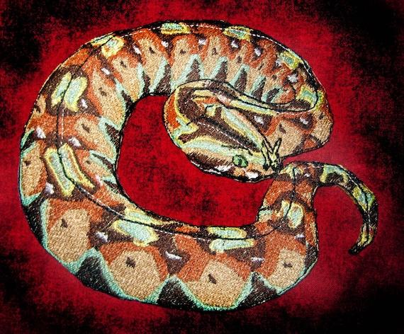 Lovely Rhinoceros Viper Snake Iron On Patch Etsy