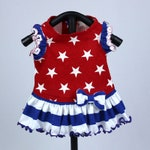 Dog Dress, Custom Made for Independence Day, Summer or Fall: Knit Ruffle Dress Features a White Stars on Red print knit fabric