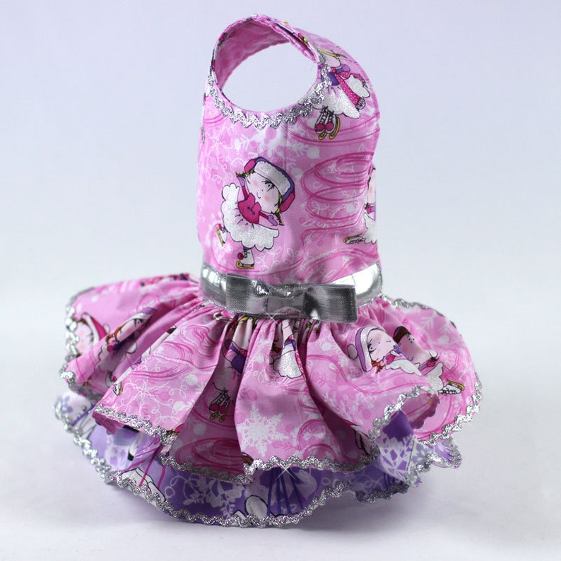 Harness Winter Ruffle Dress features a Skater Print on Pink and Purple Background Dog dress for the Christmas Holiday Custom Made