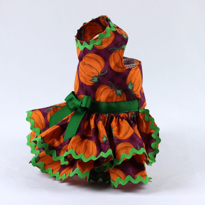 Dog Dress Features an Orange Pumpkin Print on Purple Background Custom Made Dog Harness Dress for Fall or Thanksgiving