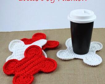 Dog Bone Coasters, Crochet Table Decor, Crochet Coasters, Crochet Gifts, Gift for Dog Lover, Dog Bone, Christmas, Red, White