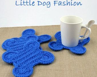 Dog Bone Coasters, Crochet Table Decor, Crochet Gifts, Gift for Dog Lover, Crochet Coasters, Dog Bone, Royal Blue