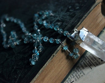 The Olwen Necklace. Rustic Bohemian Crystal Point and Choice of Sterling Silver Gemstone Necklace.