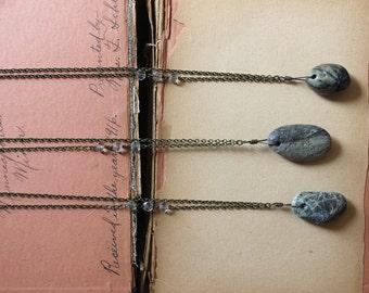 River Spirit. Rustic Natural Bohemian River Rock and Handcut Glass Bead Layering Necklace.