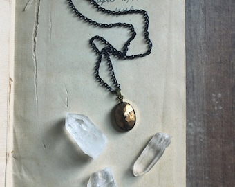 Divination. Vintage Inverted Faceted Glass Jewel Pendant and Antiqued Brass Necklace.