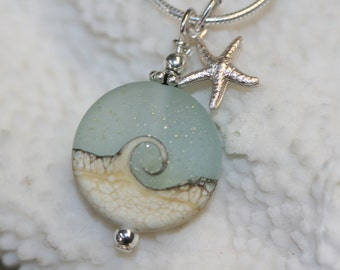 beach jewelry sea glass jewelry Christmas present Green pendant,snake chain beach glass jewelry green gift set beach glass pendant.