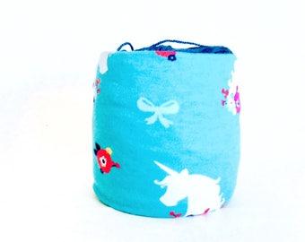 Unicorn Yarn Bowl- Flower Yarn Bowl- Blue Yarn Holder- Yarn Organizer- Spring Yarn Cozy- Crochet Accessories- Yarn Holder- Skein Coats