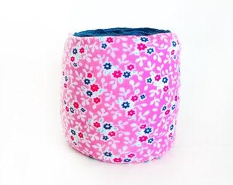 Spring Yarn Bowl- Pink Flower Yarn Bowl- Pink Yarn Holder- Yarn Organizer- Spring Yarn Cozy- Crochet Accessories- Yarn Holder- Skein Coats