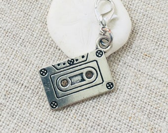Cassette Tape Stitch Marker- Music Lover Crochet Marker- Silver Stitch Marker- Locking Stitch Marker- Removable Stitch Marker- Punk Marker
