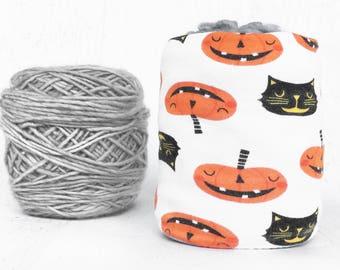 Halloween Yarn Bowl- Fall Yarn Holder- Yarn Organizer- Yarn Storage- Pumpkin & Cat Yarn Cozy- Crochet Accessories- Skein Coats- Knitting