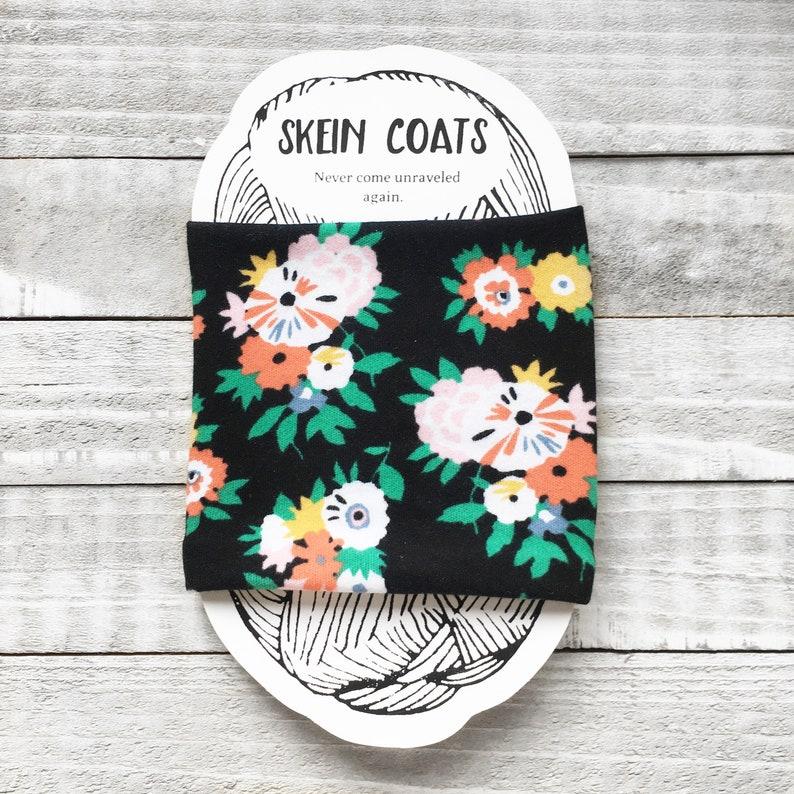 Black Floral Yarn Cozy Yarn Holder  Skein Coat Yarn Sleeve image 0