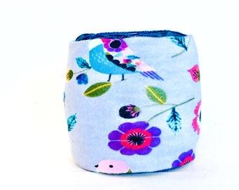 Purple Yarn Bowl- Flower Yarn Bowl- Bird Yarn Holder- Gift for Knitter- Spring Yarn Cozy- Crochet Accessories- Yarn Holder- Skein Coats
