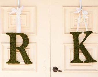 Moss Covered 18 inch WEDDING Church Door Initials Monogram Letters Door Wreath (SET OF 2)
