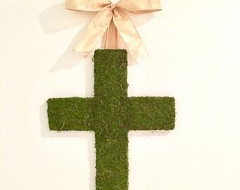 Moss Covered 18 Inch Wooden Cross Door Wreath WEDDING BAPTISM
