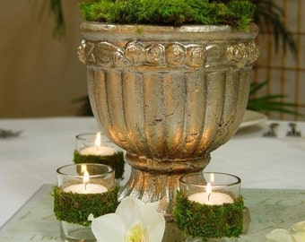 Moss covered TEALIGHT WEDDING candle holder votives