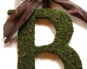 Moss covered 18 inch Initial letter B