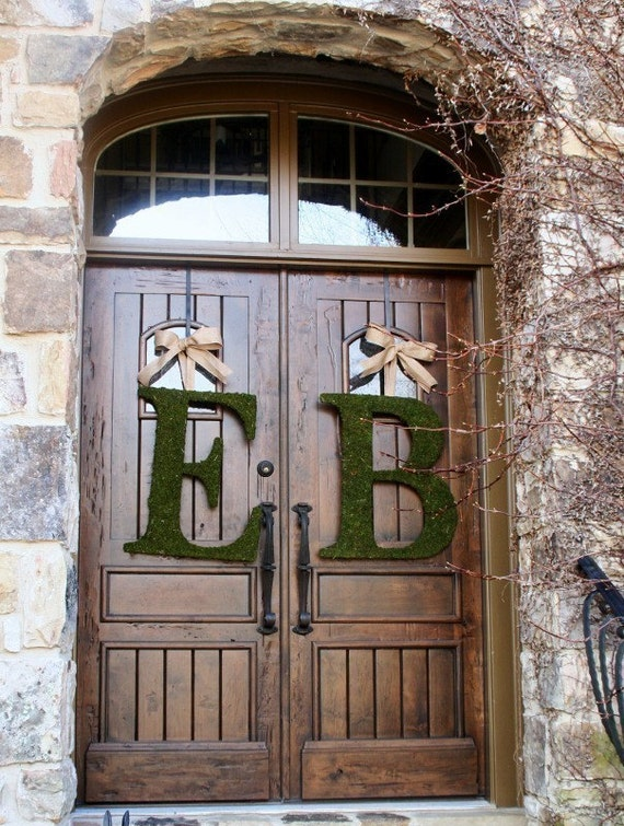 Moss Covered 24 Inch Church Door Wedding Initials Letters | Etsy
