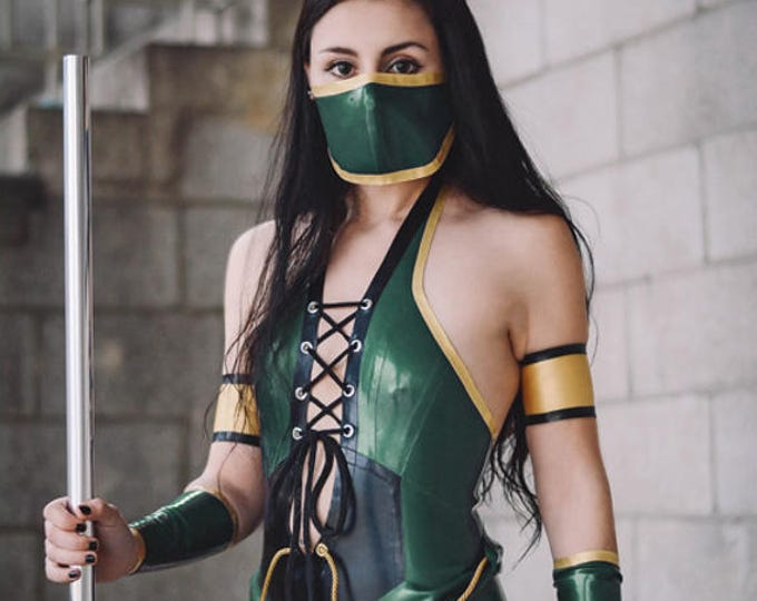 Featured listing image: Latex Mortal Kombat Latex Costume:  pieces available seperately, or order the whole outfit!