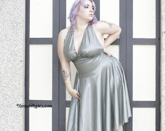 Silver Marilyn Monroe style dress, size XL, Ready to ship!