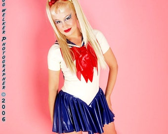 Sailor Moon Costume.  Bodysuit with attached bows, sailor scarf and skirt.