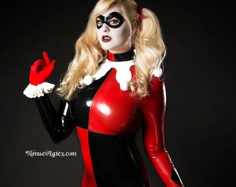 Harley Quinn Complete Latex Cosplay Costume:  Pieces available individually, or order the whole outfit!