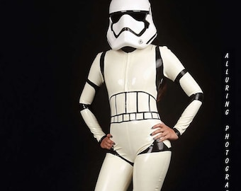 Sexy Storm Trooper Latex Catsuit
