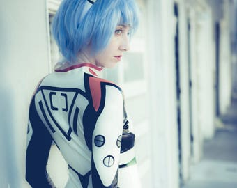 Rei Ayanami Complete Latex Cosplay Costume, includes catsuit and headband