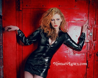 Zip Dress with long cuffed sleeves and full length front zipper