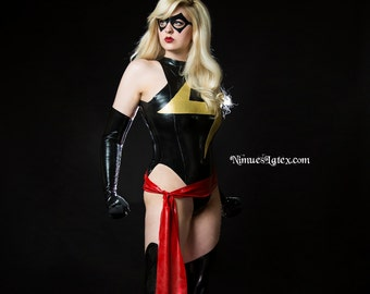 Ms Marvel Cosplay Latex Costume:   Pieces available individually, or order the whole outfit!
