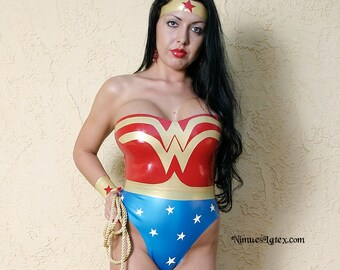 Wonder Woman Latex Costume. Includes bodysuit, wrist bands, tiara and lasso:   Pieces available individually, or order the whole outfit!