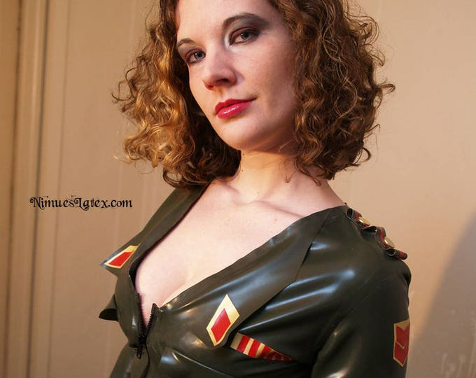 Featured listing image: Latex Military Dress, made to order, custom sizing available.  By NimuesLatex