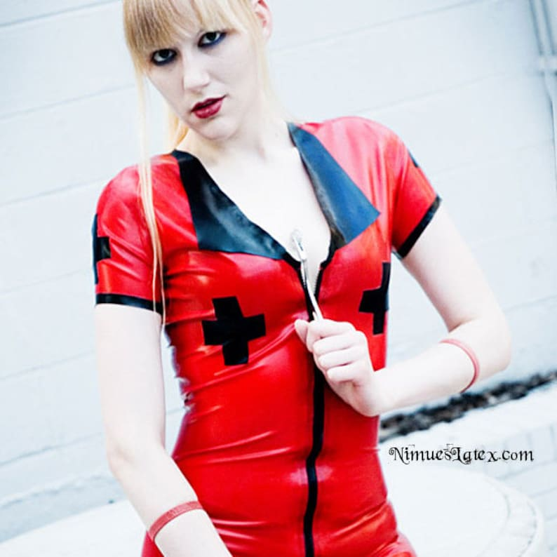 4262e7ce6f2 Latex Nurse Dress with front zip. Made-to-order