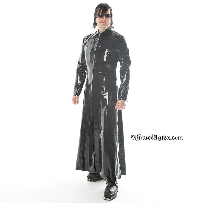 d891853e3cb Latex Matrix Jacket. Long Black Jacket with front zip, made to order. Great  for Neo / Matrix cosplay!
