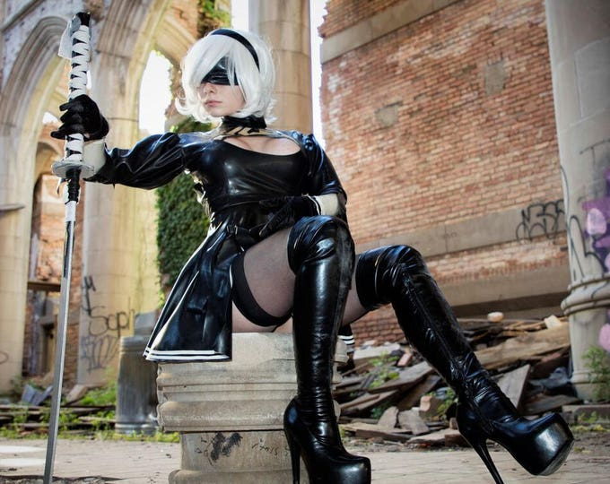 Featured listing image: 2B Nier: Automata Latex Costume.  Includes dress and gloves!  Optional detailed trim.