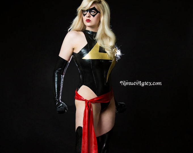 Featured listing image: Ms Marvel Complete Costume, includes Bodysuit, Fingerless Gloves, Stockings, Sash, and Mask.