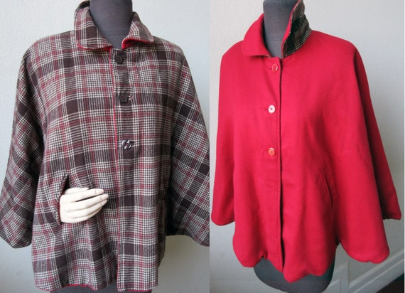 40's Adorable Reversible Red Riding Hood and Plaid