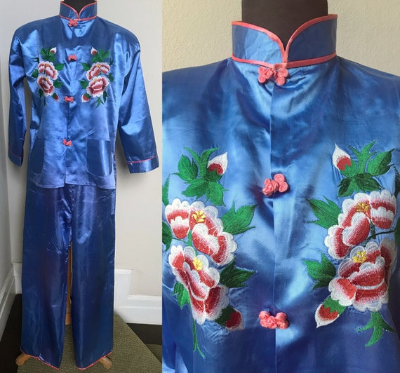 60's Lovely Sky Blue Satin Japanese Embroidered Ma